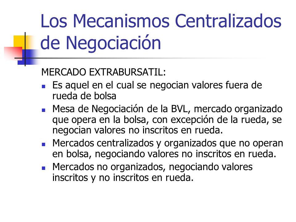 Los Mecanismos Centralizados de Negociación MERCADO EXTRABURSATIL: Es aquel en el cual se negocian valores fuera de rueda de bolsa Mesa de Negociación