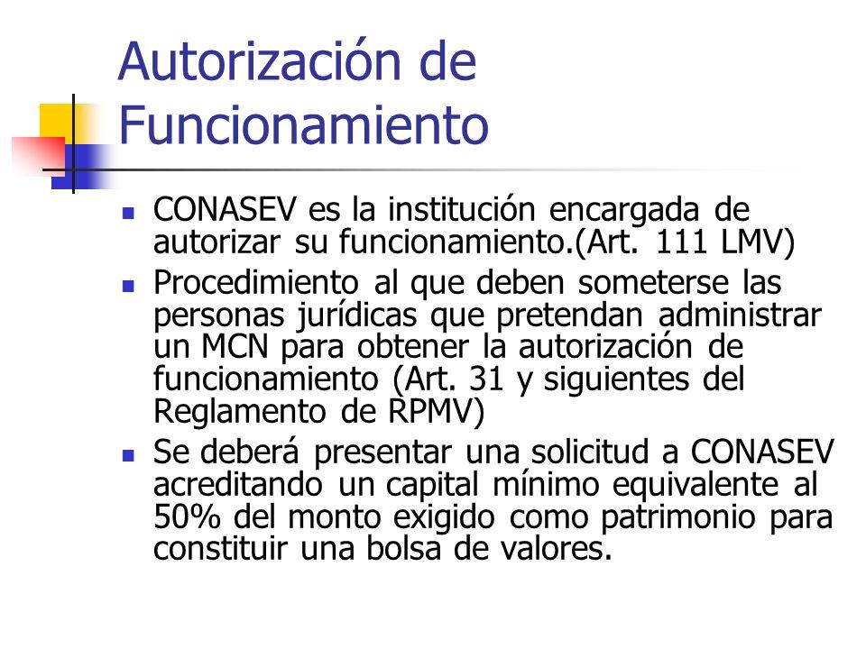 Autorización de Funcionamiento CONASEV es la institución encargada de autorizar su funcionamiento.(Art. 111 LMV) Procedimiento al que deben someterse