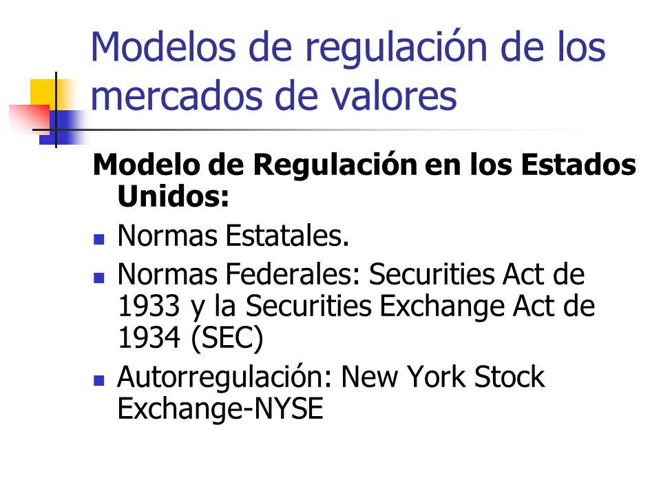 Modelos de regulación de los mercados de valores Modelo de Regulación en los Estados Unidos: Normas Estatales. Normas Federales: Securities Act de 193