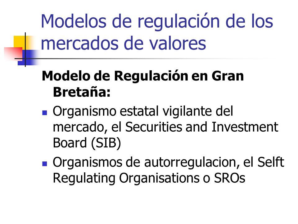 Modelos de regulación de los mercados de valores Modelo de Regulación en Gran Bretaña: Organismo estatal vigilante del mercado, el Securities and Inve