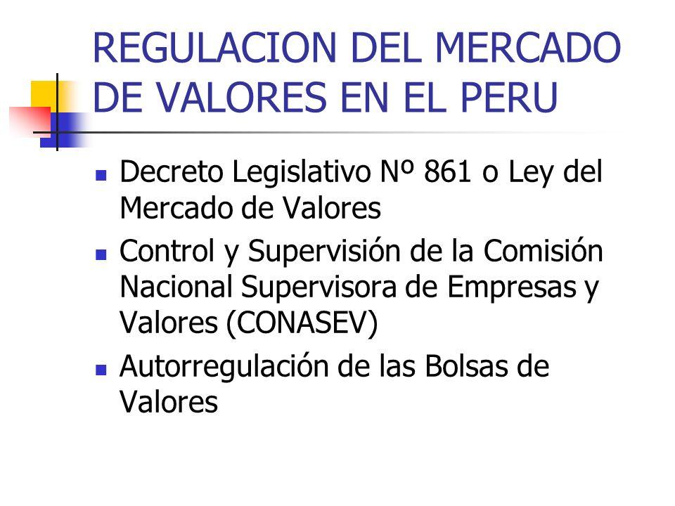 REGULACION DEL MERCADO DE VALORES EN EL PERU Decreto Legislativo Nº 861 o Ley del Mercado de Valores Control y Supervisión de la Comisión Nacional Sup