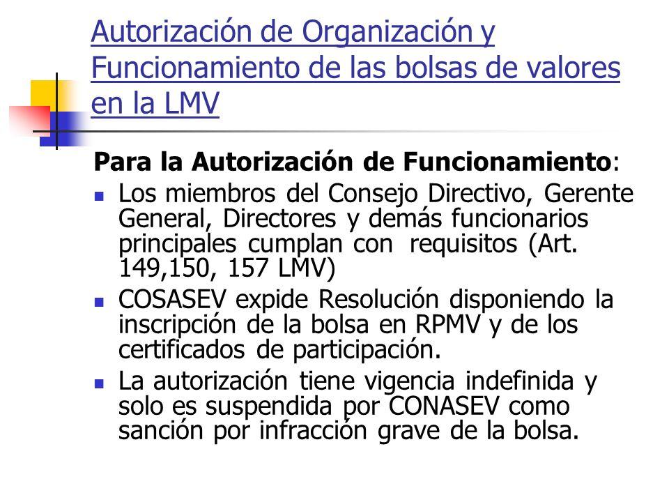 Autorización de Organización y Funcionamiento de las bolsas de valores en la LMV Para la Autorización de Funcionamiento: Los miembros del Consejo Dire