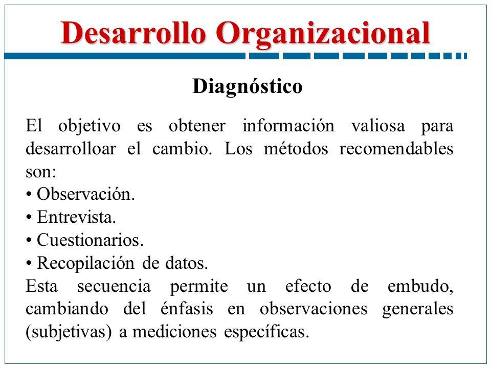 Desarrollo Organizacional Diagnóstico El objetivo es obtener información valiosa para desarrolloar el cambio. Los métodos recomendables son: Observaci