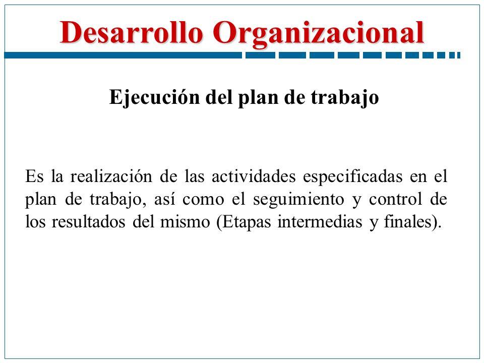 Desarrollo Organizacional Ejecución del plan de trabajo Es la realización de las actividades especificadas en el plan de trabajo, así como el seguimie