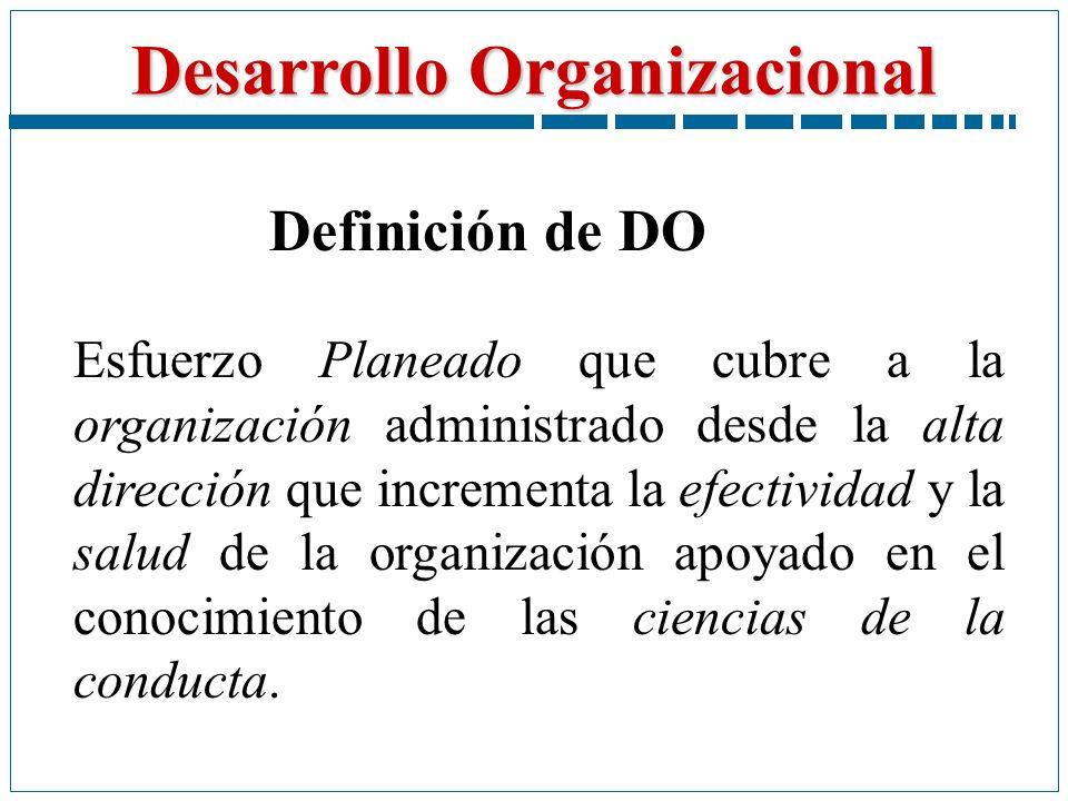 Desarrollo Organizacional Esfuerzo Planeado que cubre a la organización administrado desde la alta dirección que incrementa la efectividad y la salud