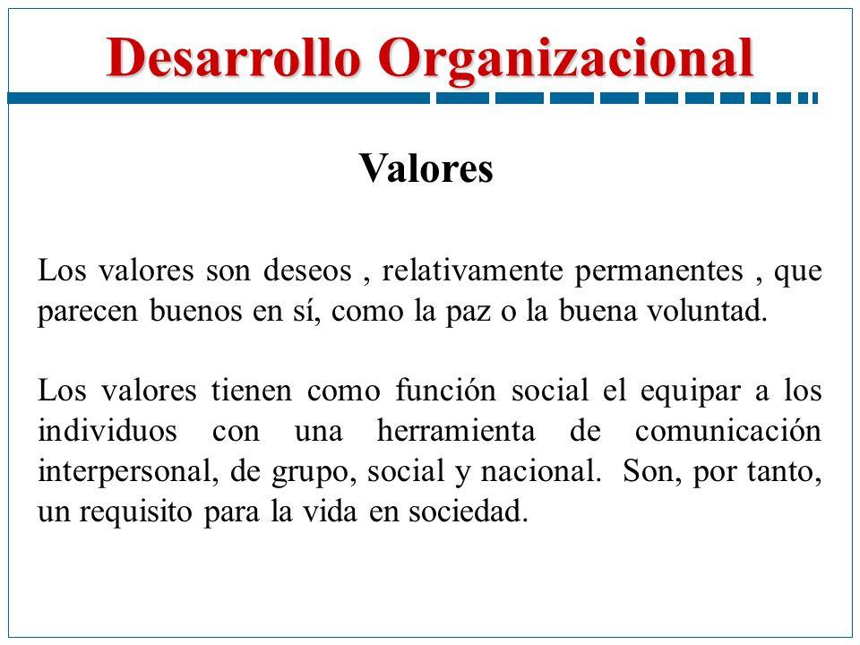 Desarrollo Organizacional Los valores son deseos, relativamente permanentes, que parecen buenos en sí, como la paz o la buena voluntad. Los valores ti