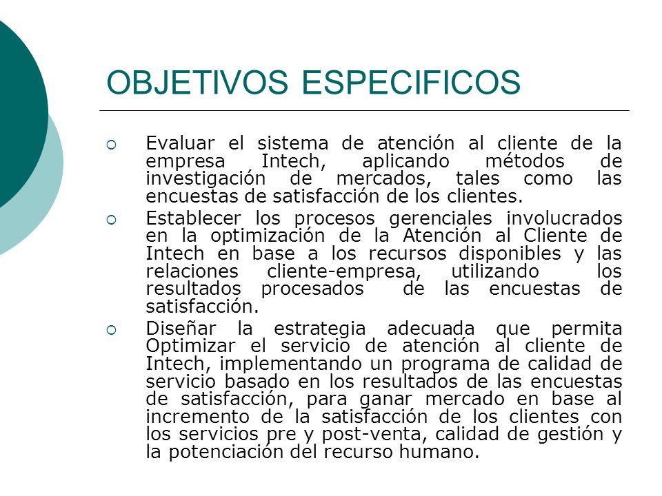 OBJETIVOS ESPECIFICOS Evaluar el sistema de atención al cliente de la empresa Intech, aplicando métodos de investigación de mercados, tales como las e
