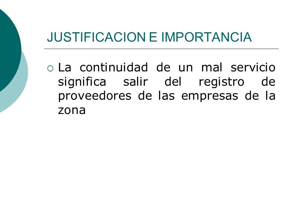 JUSTIFICACION E IMPORTANCIA La continuidad de un mal servicio significa salir del registro de proveedores de las empresas de la zona