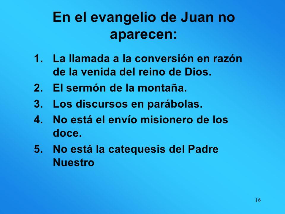 15 Conceptos importantes para los sinópticos y ausentes en Juan: TÉRMINOS IMPORTANTES: Mt Mc LcJn Euangelion(evangelio)57100 Basileia(reino,reinado)57