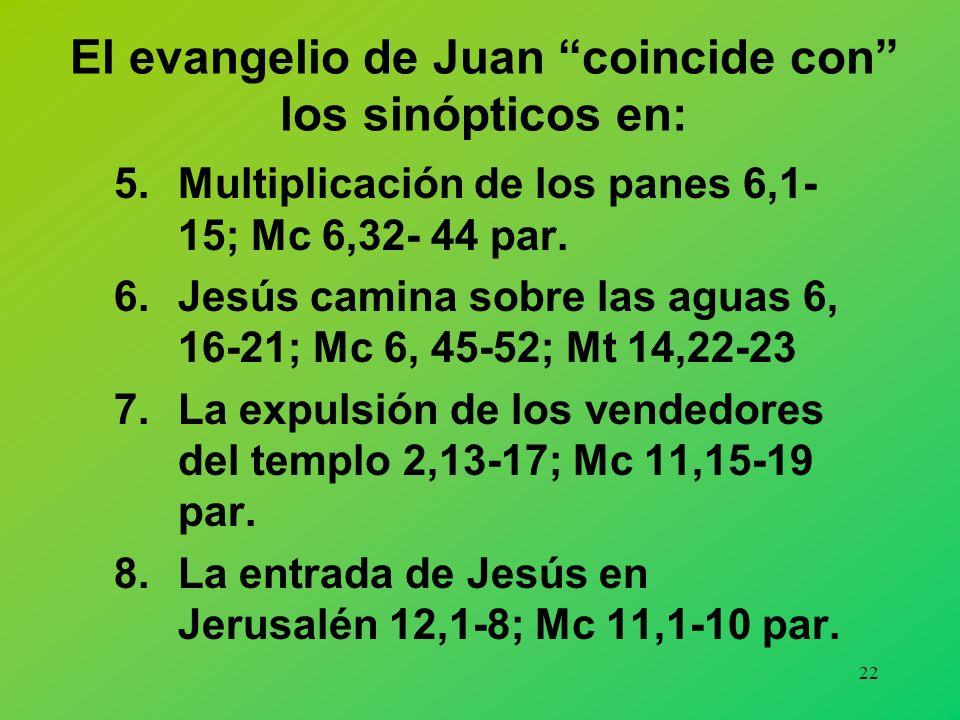 21 El evangelio de Juan coincide con los sinópticos en: 1.La curación del hijo del funcionario real 4,46-54; Mt 8,5- 13; Lc 7, 1-10. 2.Curación de un