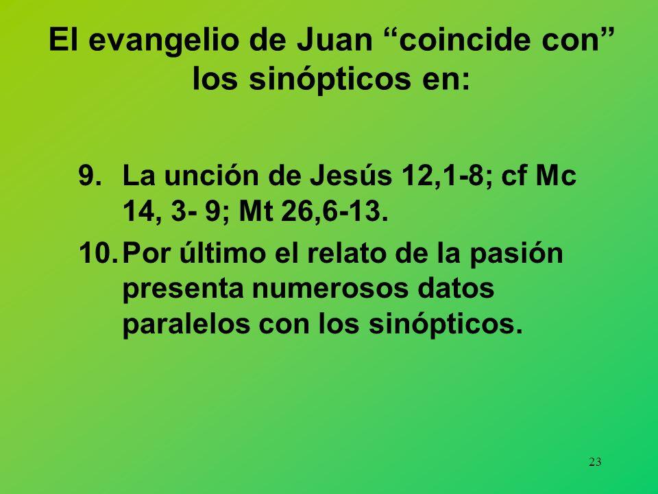 22 El evangelio de Juan coincide con los sinópticos en: 5.Multiplicación de los panes 6,1- 15; Mc 6,32- 44 par. 6.Jesús camina sobre las aguas 6, 16-2