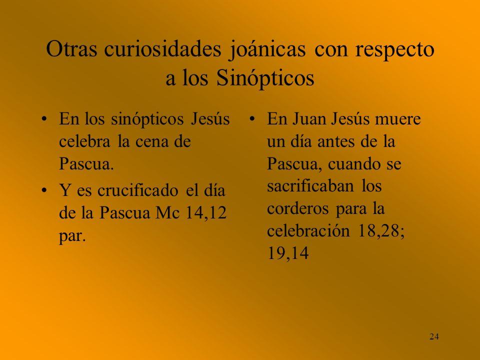 23 El evangelio de Juan coincide con los sinópticos en: 9.La unción de Jesús 12,1-8; cf Mc 14, 3- 9; Mt 26,6-13. 10.Por último el relato de la pasión