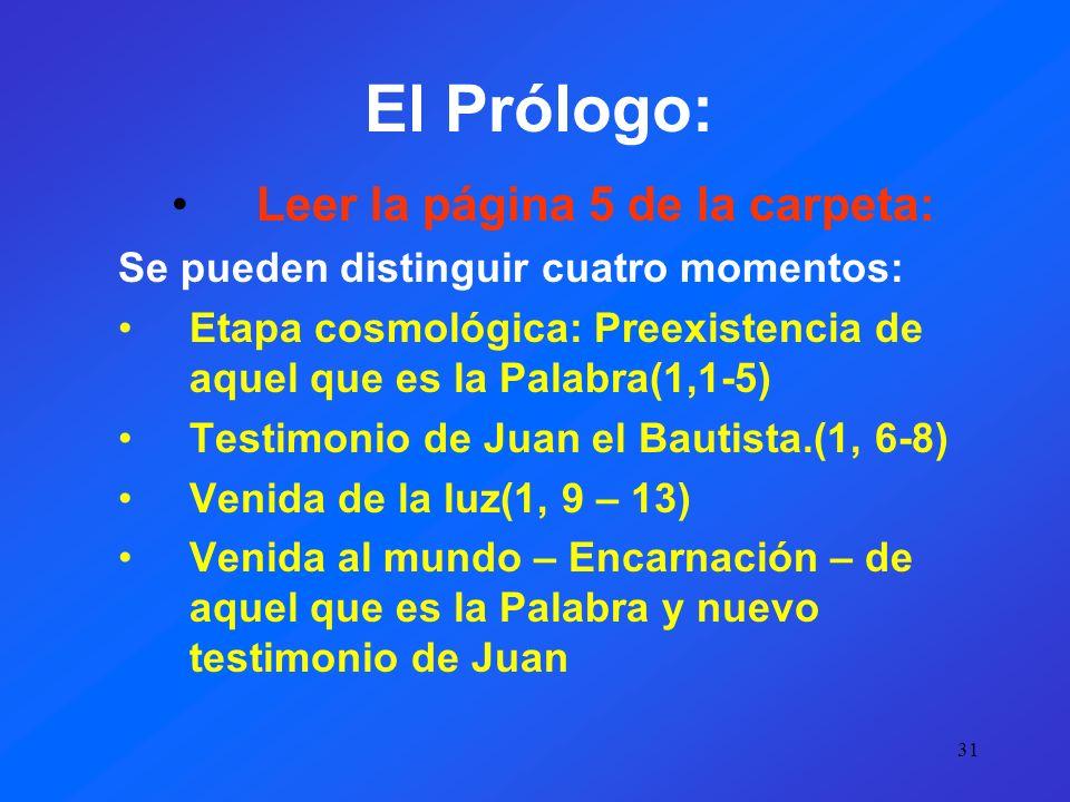 30 Estructura de acuerdo a la carpeta Se puede dividir el evangelio en cuatro partes: 1.Prólogo y testimonios 1, 1-51 2.Libro de los signos: 2,1 – 12,