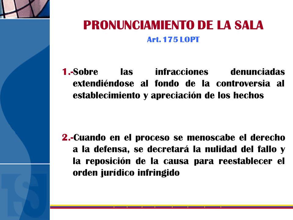 PRONUNCIAMIENTO DE LA SALA Art. 175 LOPT 1.-Sobre las infracciones denunciadas extendiéndose al fondo de la controversia al establecimiento y apreciac