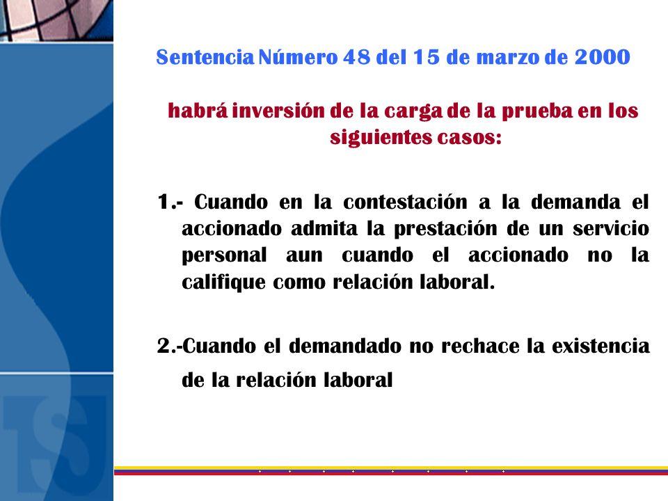 Sentencia Número 48 del 15 de marzo de 2000 habrá inversión de la carga de la prueba en los siguientes casos: 1.- Cuando en la contestación a la deman