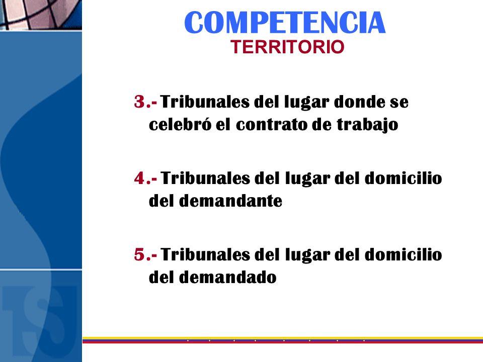 COMPETENCIA TERRITORIO 3.- Tribunales del lugar donde se celebró el contrato de trabajo 4.- Tribunales del lugar del domicilio del demandante 5.- Trib