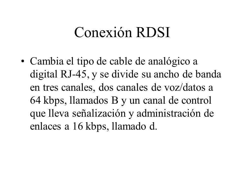 Conexión RDSI Cambia el tipo de cable de analógico a digital RJ-45, y se divide su ancho de banda en tres canales, dos canales de voz/datos a 64 kbps, llamados B y un canal de control que lleva señalización y administración de enlaces a 16 kbps, llamado d.