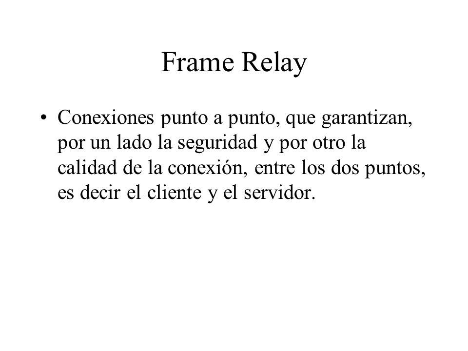 Frame Relay Conexiones punto a punto, que garantizan, por un lado la seguridad y por otro la calidad de la conexión, entre los dos puntos, es decir el cliente y el servidor.