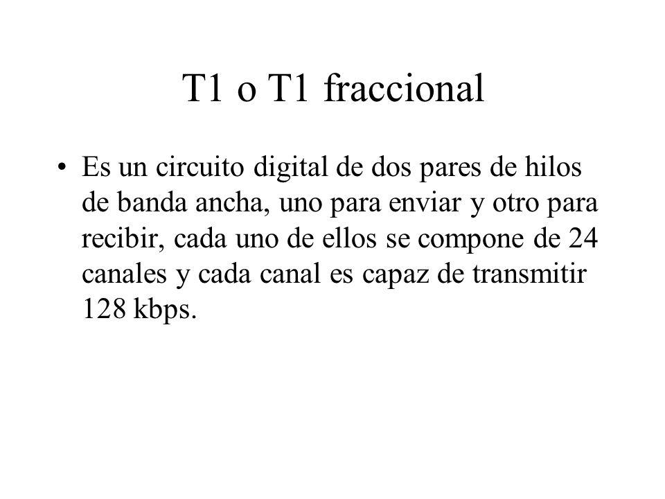 T1 o T1 fraccional Es un circuito digital de dos pares de hilos de banda ancha, uno para enviar y otro para recibir, cada uno de ellos se compone de 24 canales y cada canal es capaz de transmitir 128 kbps.