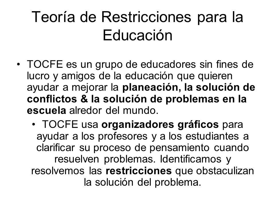 Teoría de Restricciones para la Educación TOCFE es un grupo de educadores sin fines de lucro y amigos de la educación que quieren ayudar a mejorar la
