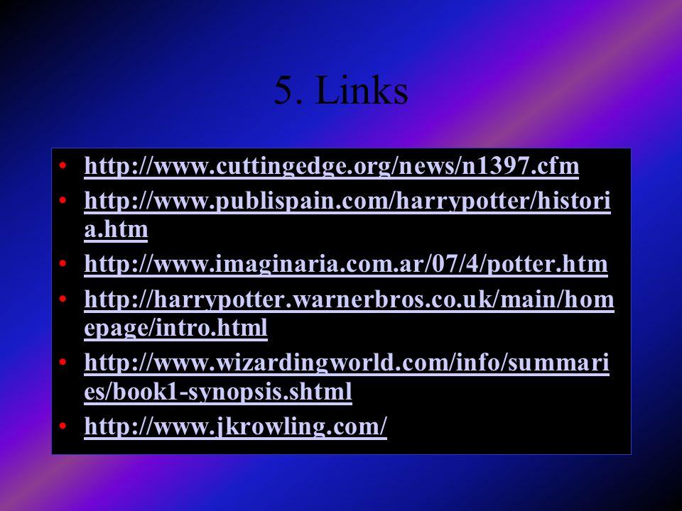 5. Links http://www.cuttingedge.org/news/n1397.cfm http://www.publispain.com/harrypotter/histori a.htm http://www.imaginaria.com.ar/07/4/potter.htm ht