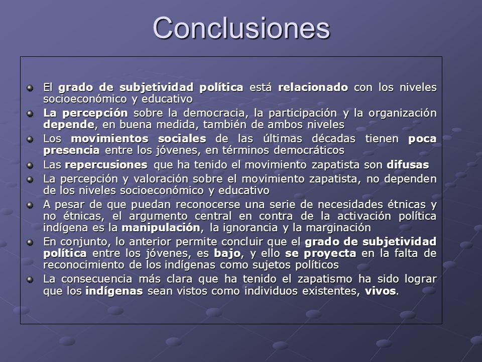 Conclusiones El grado de subjetividad política está relacionado con los niveles socioeconómico y educativo La percepción sobre la democracia, la parti