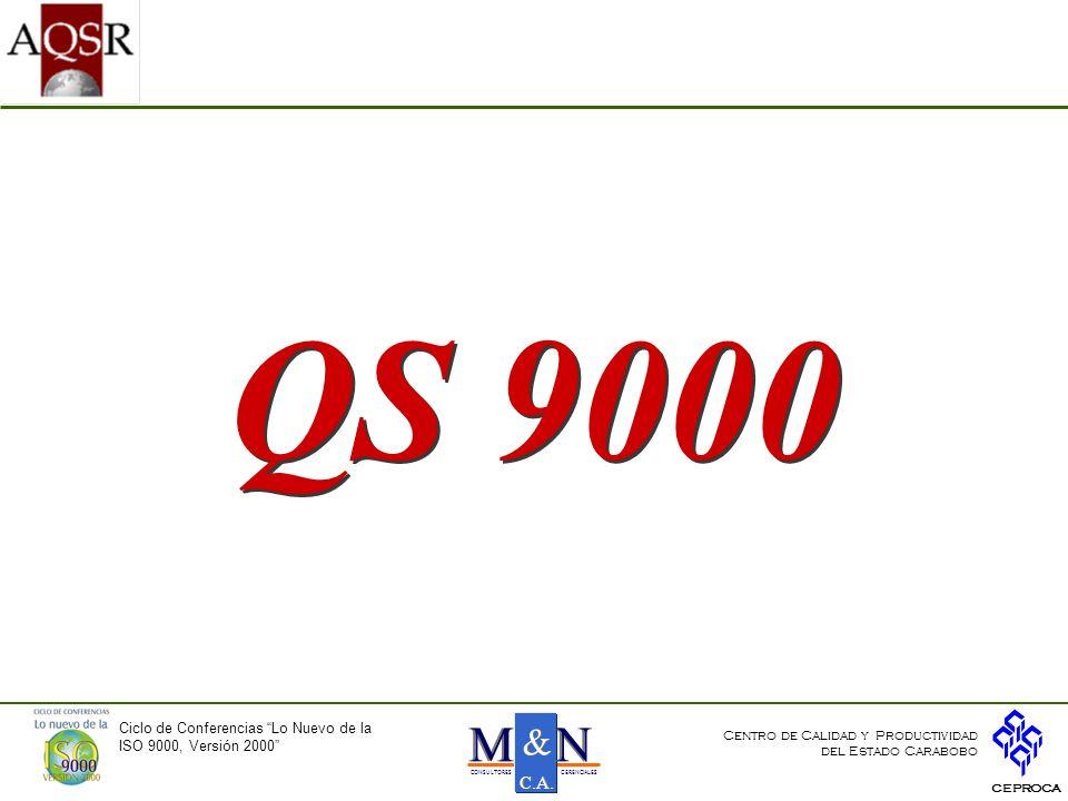 QS 9000 Ciclo de Conferencias Lo Nuevo de la ISO 9000, Versión 2000 CEPROCA Centro de Calidad y Productividad del Estado Carabobo NNMM & & C.A.
