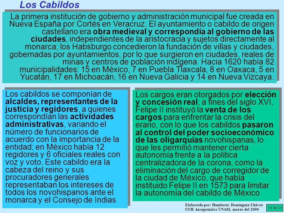 14 de 14 Elaborado por: Humberto Domínguez Chávez CCH Azcapotzalco UNAM, marzo del 2000 La primera institución de gobierno y administración municipal