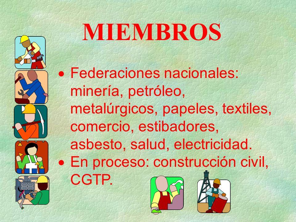 MIEMBROS Federaciones nacionales: minería, petróleo, metalúrgicos, papeles, textiles, comercio, estibadores, asbesto, salud, electricidad.