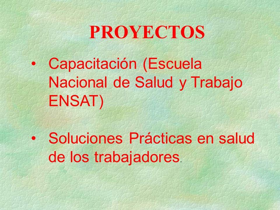 PROYECTOS Capacitación (Escuela Nacional de Salud y Trabajo ENSAT) Soluciones Prácticas en salud de los trabajadores.