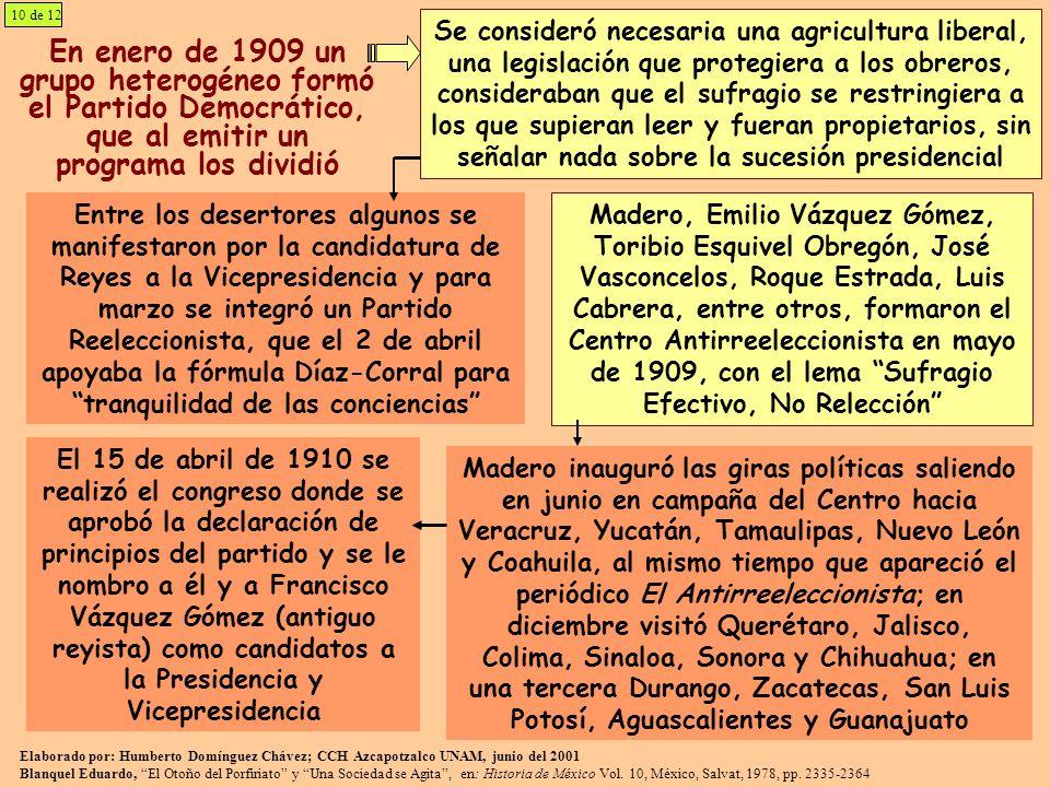10 de 12 En enero de 1909 un grupo heterogéneo formó el Partido Democrático, que al emitir un programa los dividió Se consideró necesaria una agricult