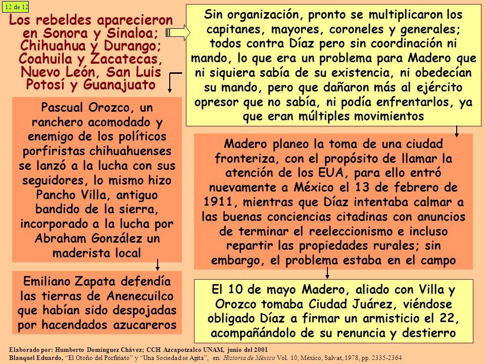 12 de 12 Los rebeldes aparecieron en Sonora y Sinaloa; Chihuahua y Durango; Coahuila y Zacatecas, Nuevo León, San Luis Potosí y Guanajuato Sin organiz