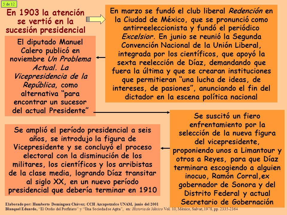 En 1903 la atención se vertió en la sucesión presidencial En marzo se fundó el club liberal Redención en la Ciudad de México, que se pronunció como an