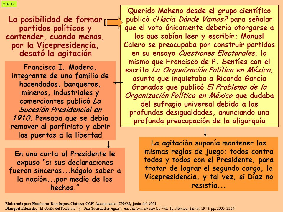 La posibilidad de formar partidos políticos y contender, cuando menos, por la Vicepresidencia, desató la agitación Querido Moheno desde el grupo cient