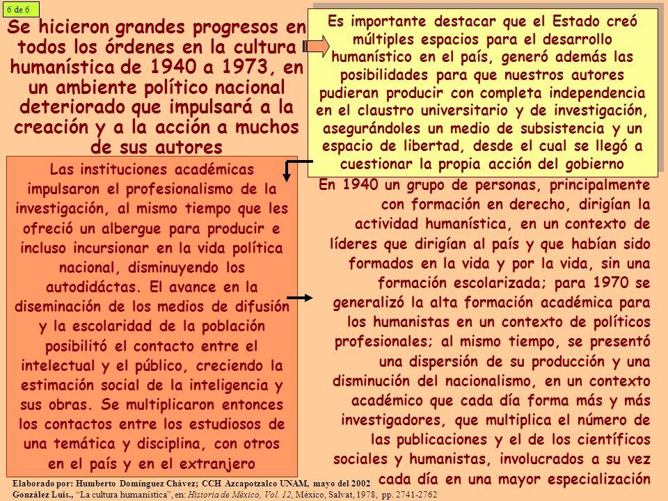 Se hicieron grandes progresos en todos los órdenes en la cultura humanística de 1940 a 1973, en un ambiente político nacional deteriorado que impulsar