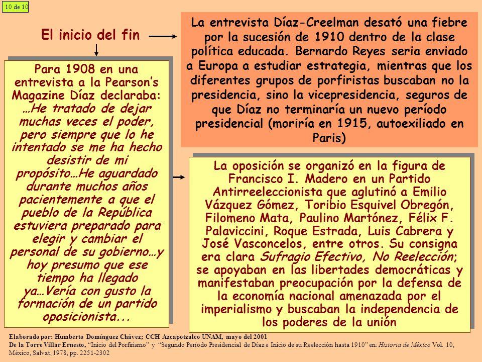 10 de 10 El inicio del fin Para 1908 en una entrevista a la Pearsons Magazine Díaz declaraba: …He tratado de dejar muchas veces el poder, pero siempre