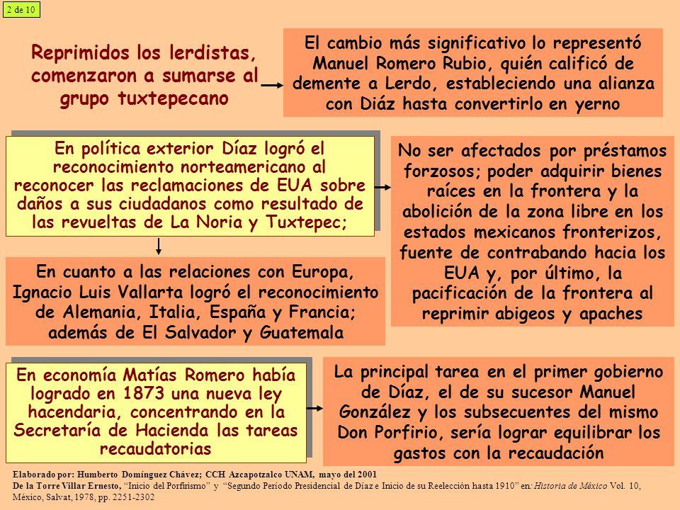 Reprimidos los lerdistas, comenzaron a sumarse al grupo tuxtepecano El cambio más significativo lo representó Manuel Romero Rubio, quién calificó de d