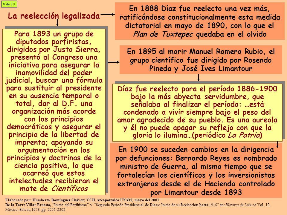 La reelección legalizada Para 1893 un grupo de diputados porfiristas, dirigidos por Justo Sierra, presentó al Congreso una iniciativa para asegurar la