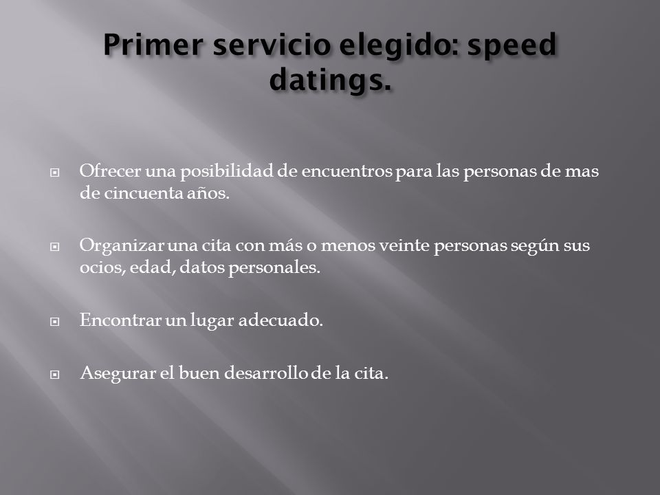 Primer servicio elegido: speed datings.