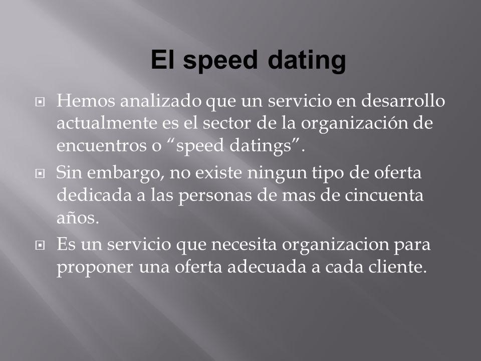 Hemos analizado que un servicio en desarrollo actualmente es el sector de la organización de encuentros o speed datings.