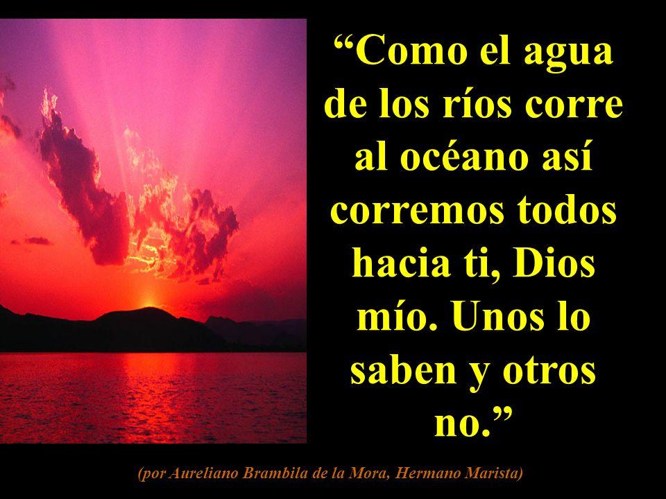 Como el agua de los ríos corre al océano así corremos todos hacia ti, Dios mío.