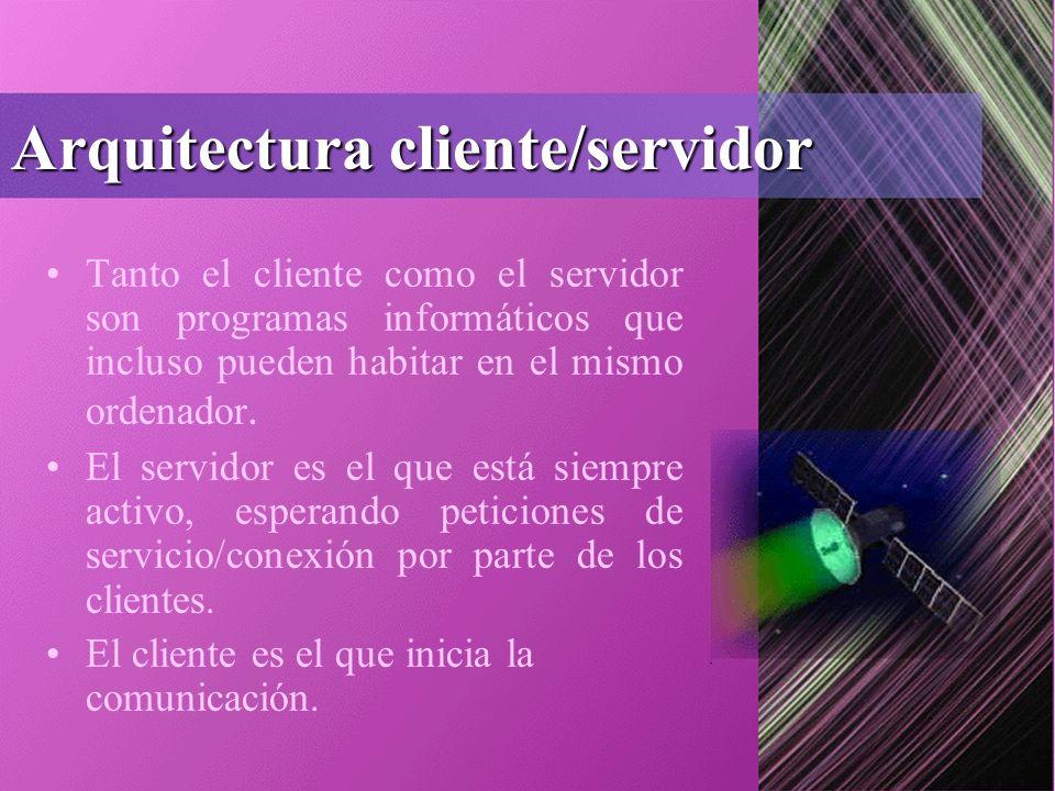 Arquitectura cliente/servidor Tanto el cliente como el servidor son programas informáticos que incluso pueden habitar en el mismo ordenador.