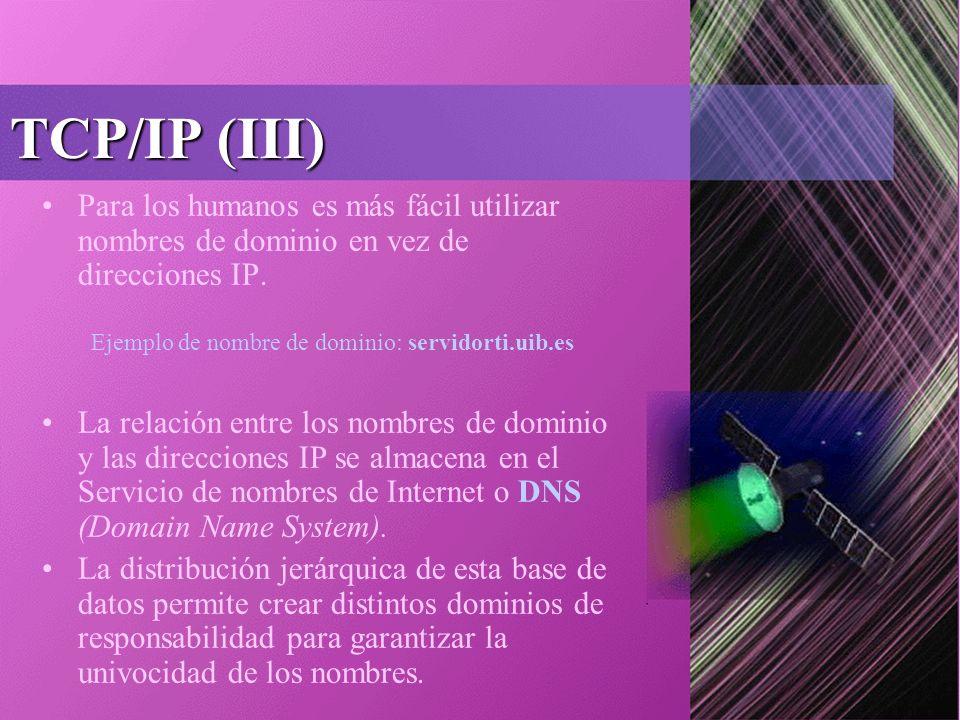 TCP/IP (III) Para los humanos es más fácil utilizar nombres de dominio en vez de direcciones IP.