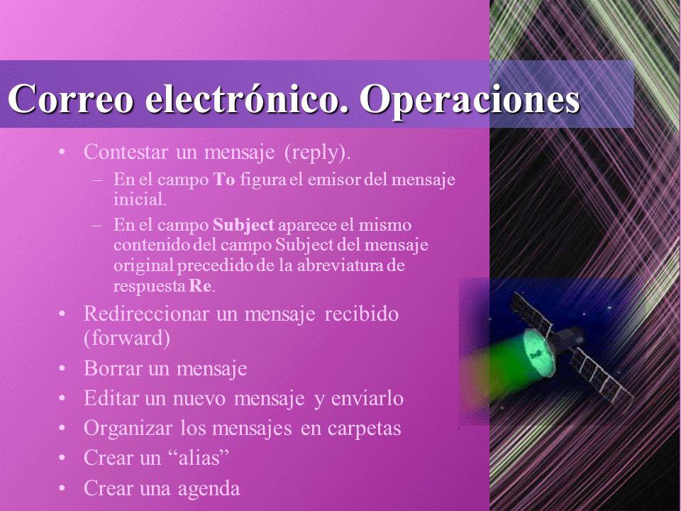 Correo electrónico. Operaciones Contestar un mensaje (reply).