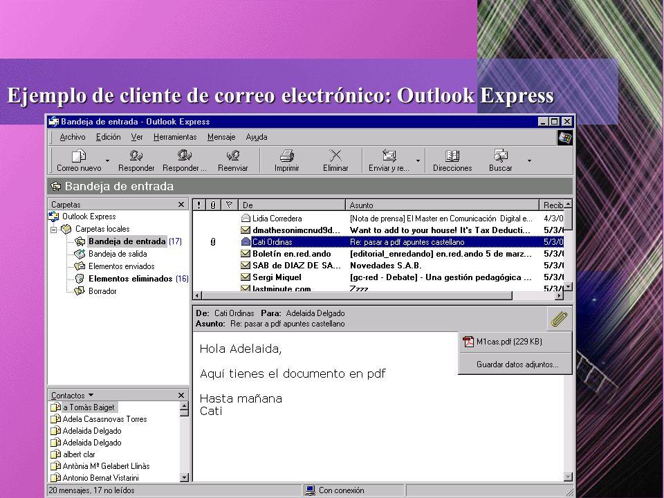 Ejemplo de cliente de correo electrónico: Outlook Express