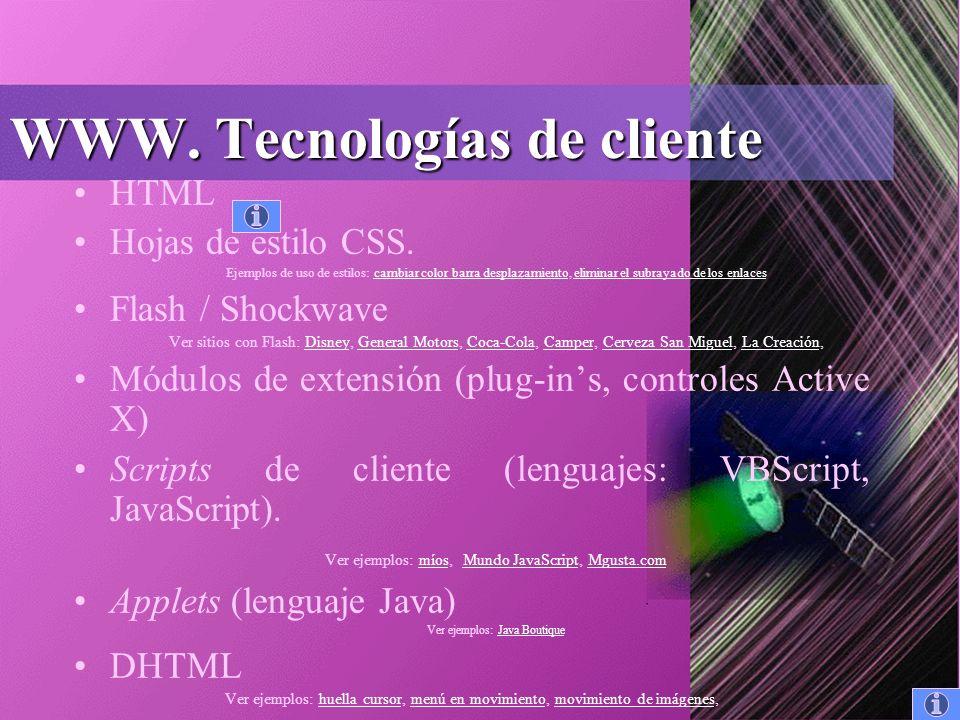 WWW. Tecnologías de cliente HTML Hojas de estilo CSS.