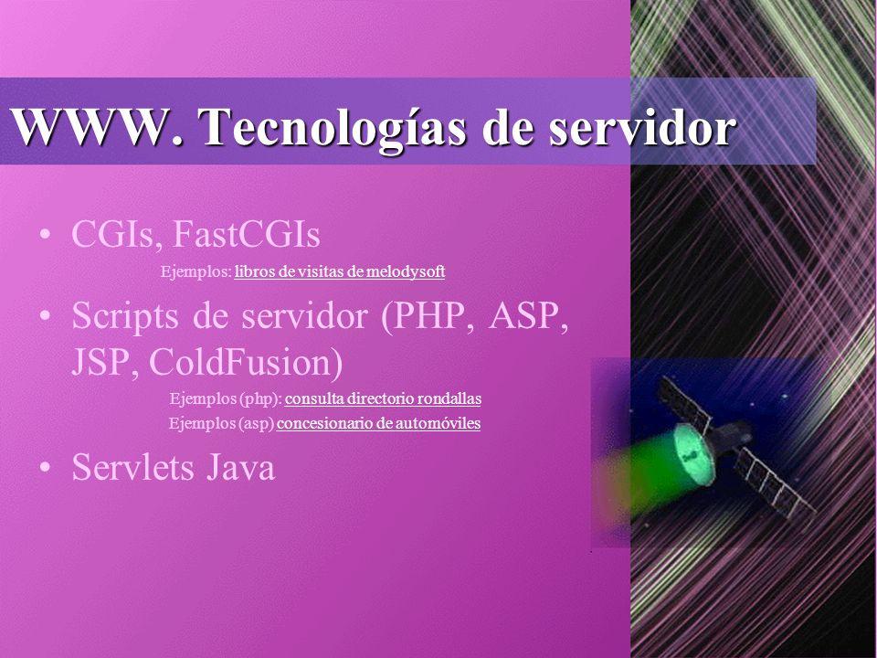 WWW. Tecnologías de servidor CGIs, FastCGIs Ejemplos: libros de visitas de melodysoftlibros de visitas de melodysoft Scripts de servidor (PHP, ASP, JS