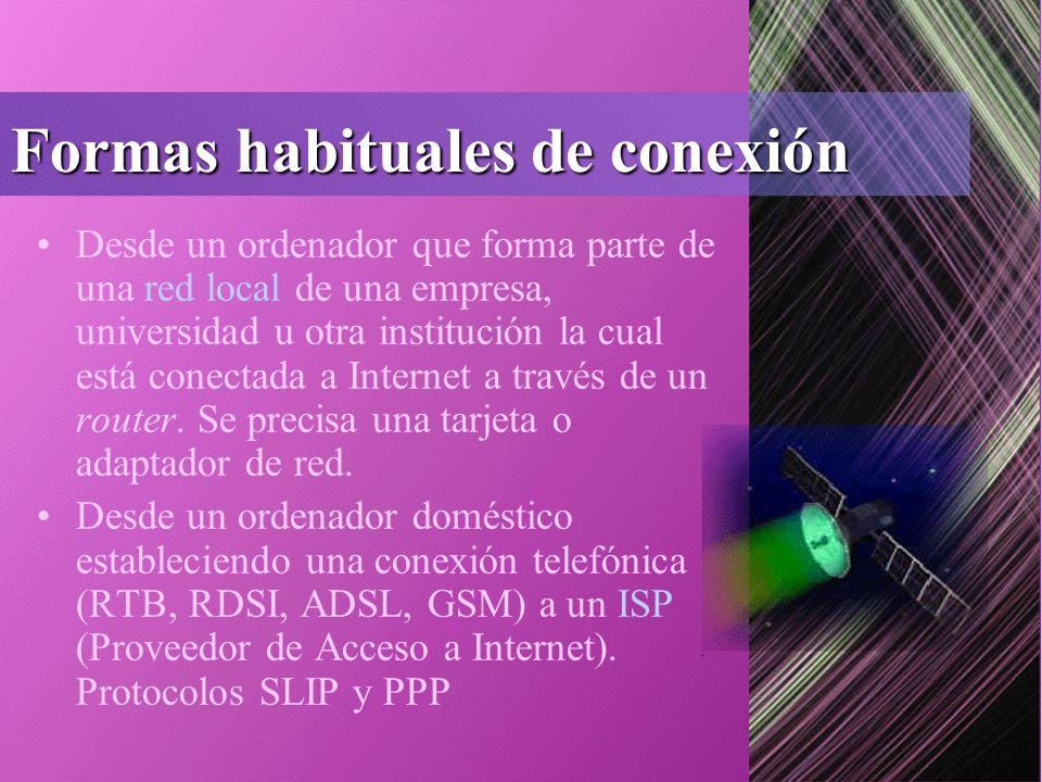 Formas habituales de conexión Desde un ordenador que forma parte de una red local de una empresa, universidad u otra institución la cual está conectada a Internet a través de un router.