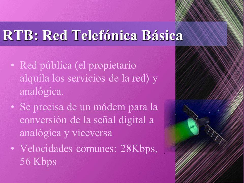 RTB: Red Telefónica Básica Red pública (el propietario alquila los servicios de la red) y analógica.