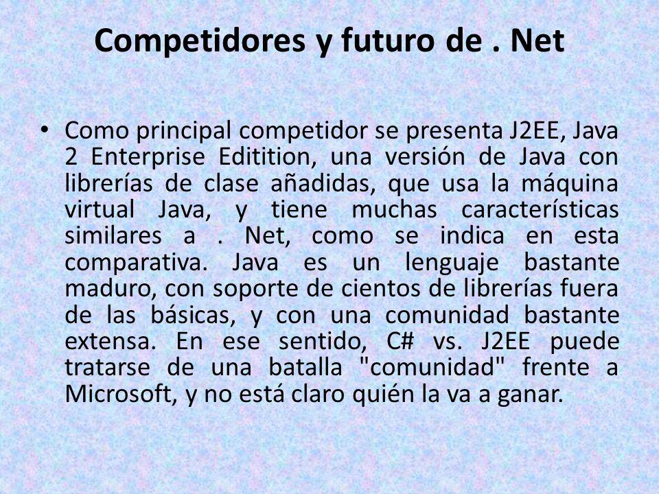Competidores y futuro de. Net Como principal competidor se presenta J2EE, Java 2 Enterprise Editition, una versión de Java con librerías de clase añad